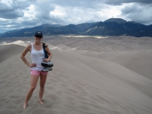 Hiking up the tallest dune in the Great Sand Dune National Park.