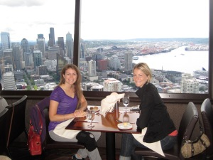 My friend Jen and I having brunch in the Space Needle with 360-degree views of Seattle! Unbelievable.